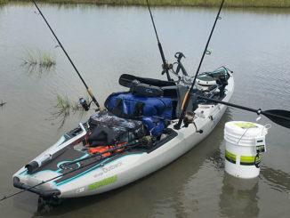 Kayak fishing for reds and specks around Elmer's Island