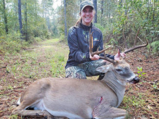 Kara Blessing with her 148-inch Beauregard Parish 12-point.