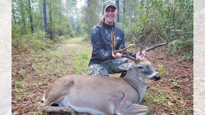 Kara Blessing with her 148-inch Beauregard Parish 12-point.