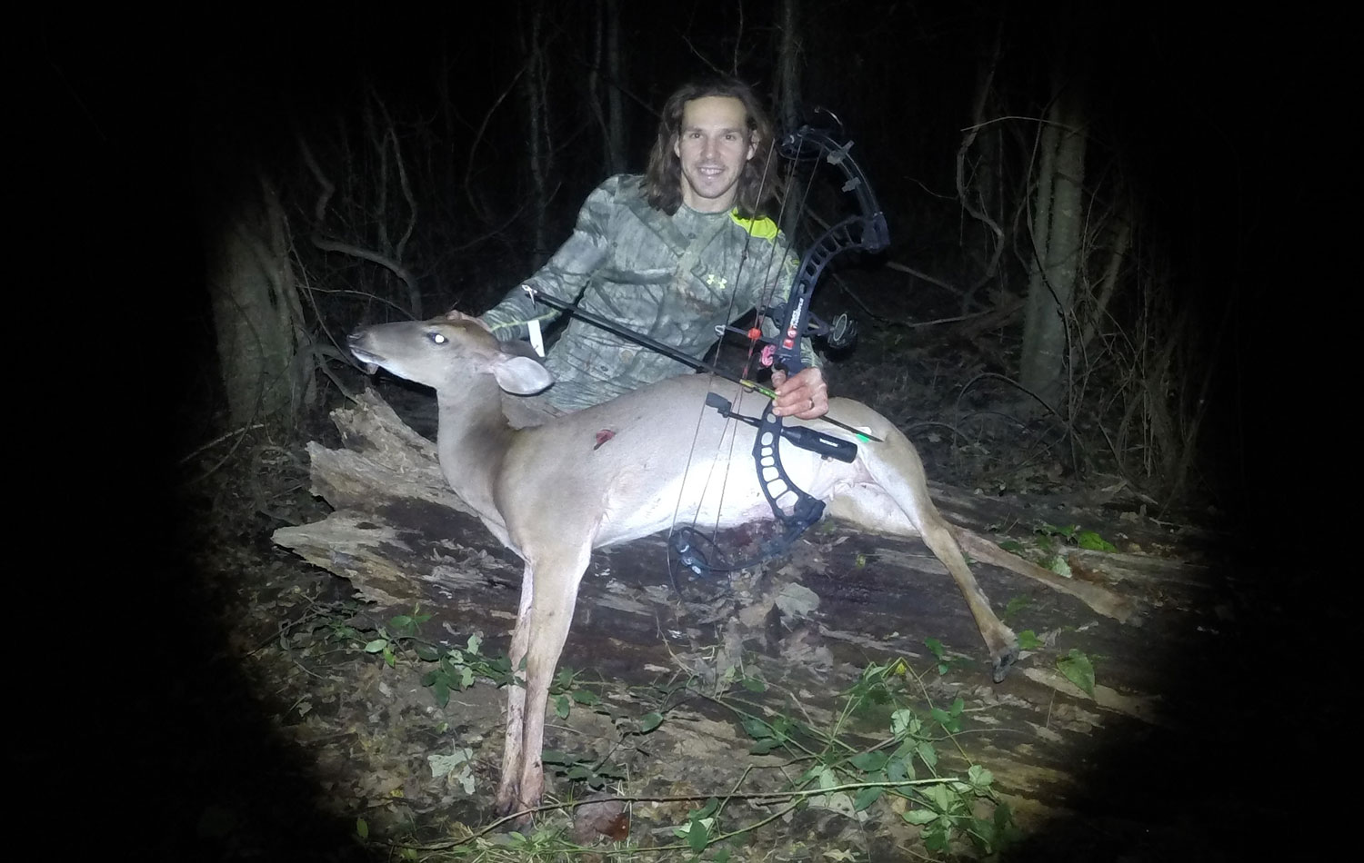 The author shot this doe under a Nuttall oak he internet scouted first.
