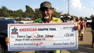"Ronnie Capps shows off his first prize ""check"" for a tournament win earlier this year. Not a bad payday for two days of fishing."