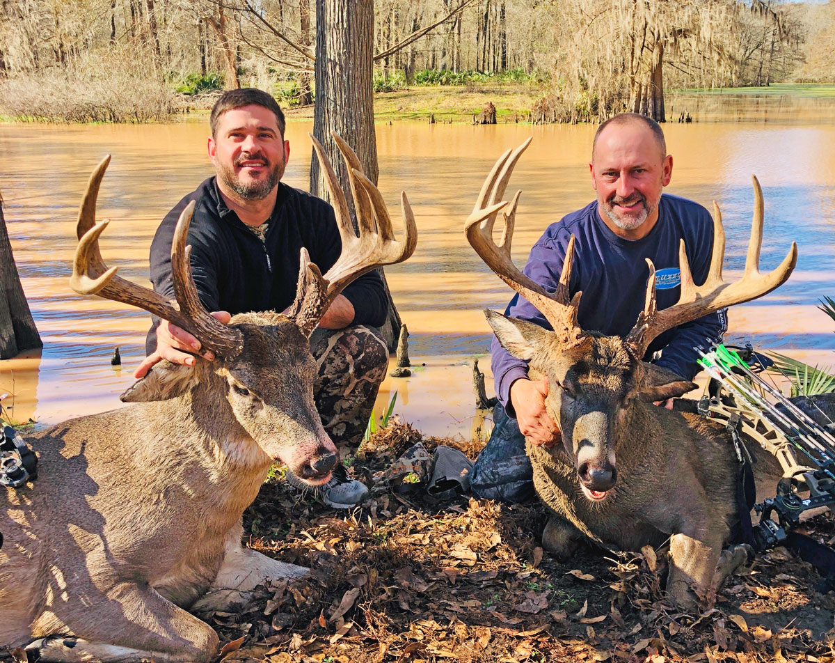 Blake Knoll (left) with his big buck that scored 166 3/8 and was killed Jan. 4 in Avoyelles Parish and his buddy Chris Krampe with his big buck that scored 171 and was killed Jan. 5 at the same hunting property.