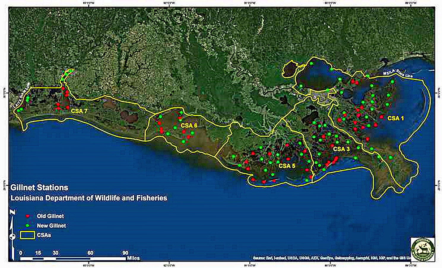 This LDWF slide shows the number of locations in each coastal study area (Basin) where sites are randomly chosen for striking LDWF gillnets. The green dots on the slide are locations that were added in October 2010 allowing more spatial coverage in each coastal study area (Basin). (Photo courtesy LDWF)