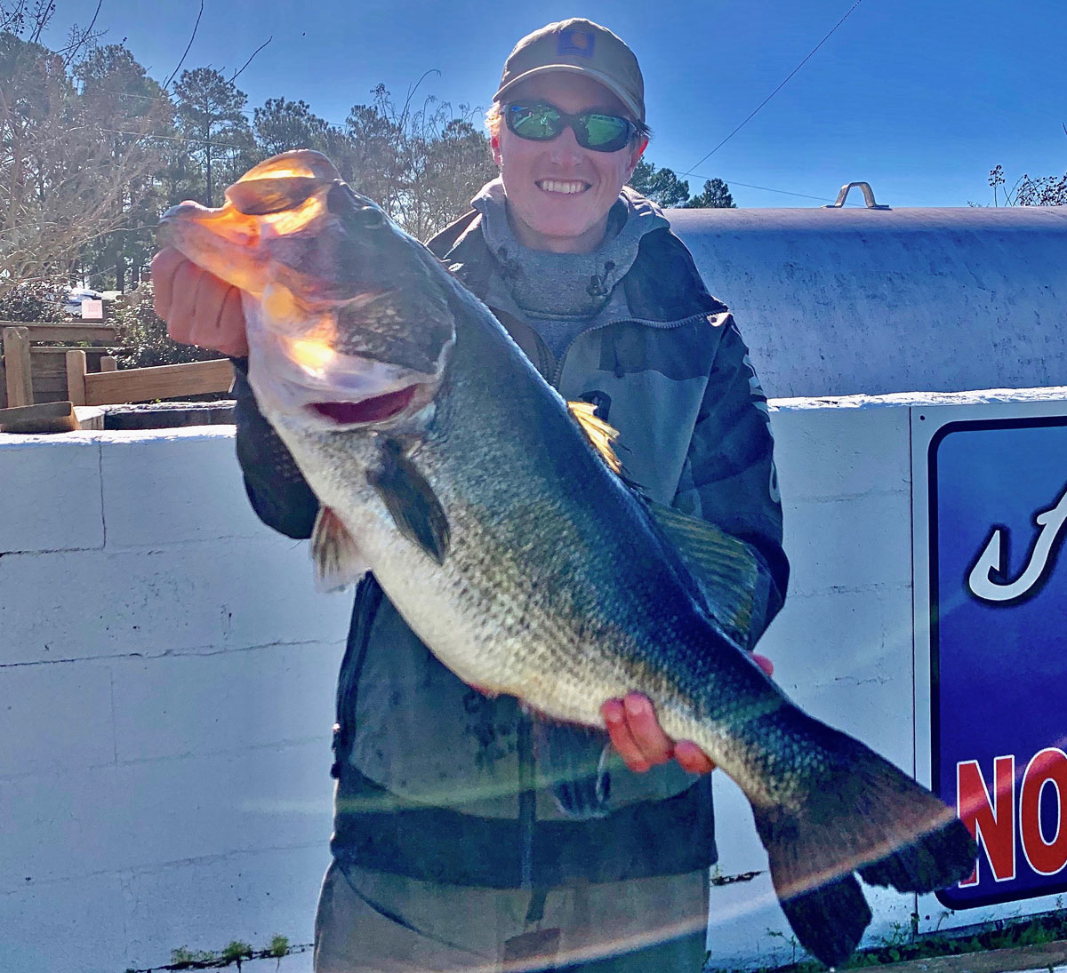 Spencer Lambert with his personal best bass, an 11-04 taken from Caney Lake.