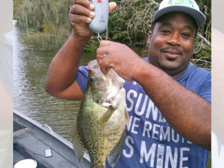 Darren Chambers with the 18-inch, 2.6-pound sac-a-lait he caught using live bait in the Lake Verret area.