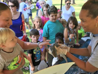 A volunteer instructor sharing information with families about sharks and other fish species at an outdoor event.