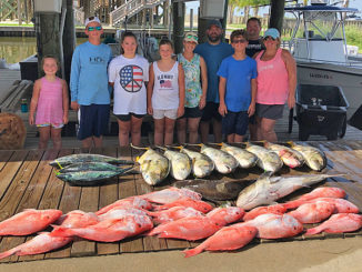 "The ""Chaos"" crew for the Golden Meadow Fourchon Tarpon Rodeo with a mess of red snapper, cobia, jack creville and bonita. These kids took home 5 trophies and memories that will last a lifetime."