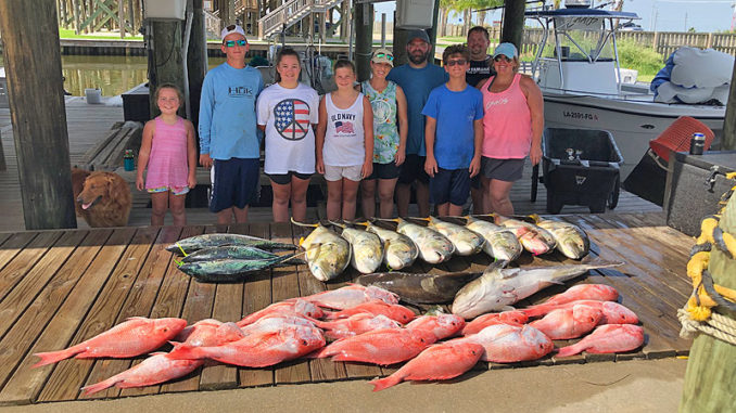 """The """"Chaos"""" crew for the Golden Meadow Fourchon Tarpon Rodeo with a mess of red snapper, cobia, jack creville and bonita. These kids took home 5 trophies and memories that will last a lifetime."""