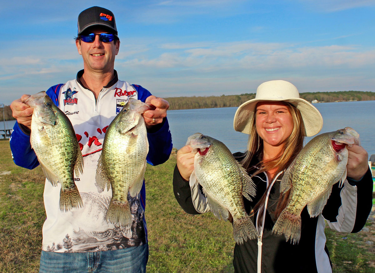 Terry and Terra Stewart show four of the big D'Arbonne slabs that helped them to a second place finish in the Louisiana State Championship, including a big fish of 2.81.