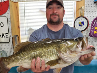 DeRidder's Jonathan Harper displays his Toledo Bend lunker weighing 10.92 pounds taken Feb. 28 on a ¾-ounce, black/blue Santone Football jig with a black/blue Zoom Speed Craw in the Indian Creek area.