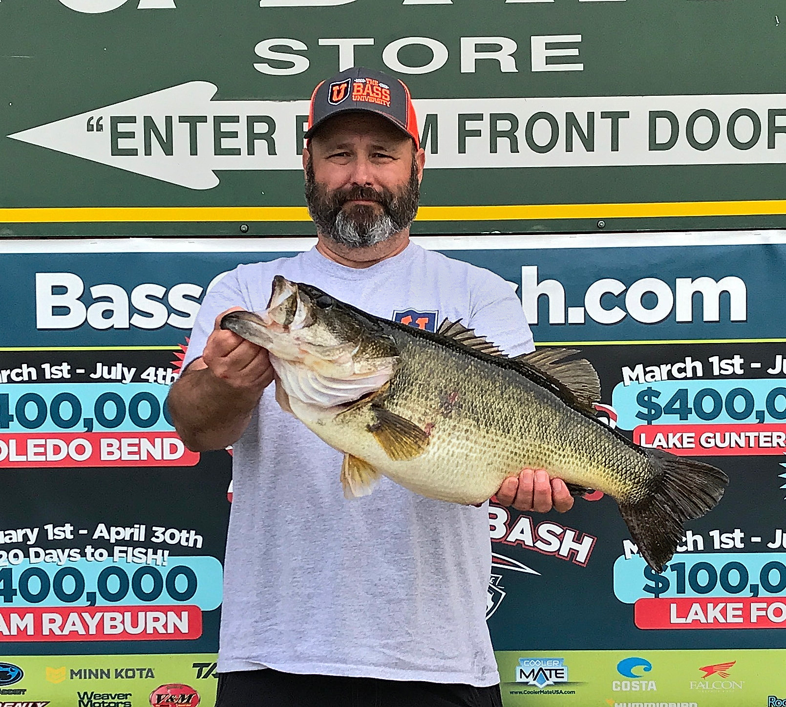 Sulphur's Mike Richard caught this Toledo Bend 10.24-pounder in a monster bass location in Housen Bay. (Photo courtesy of Toledo Bend Lake Association)