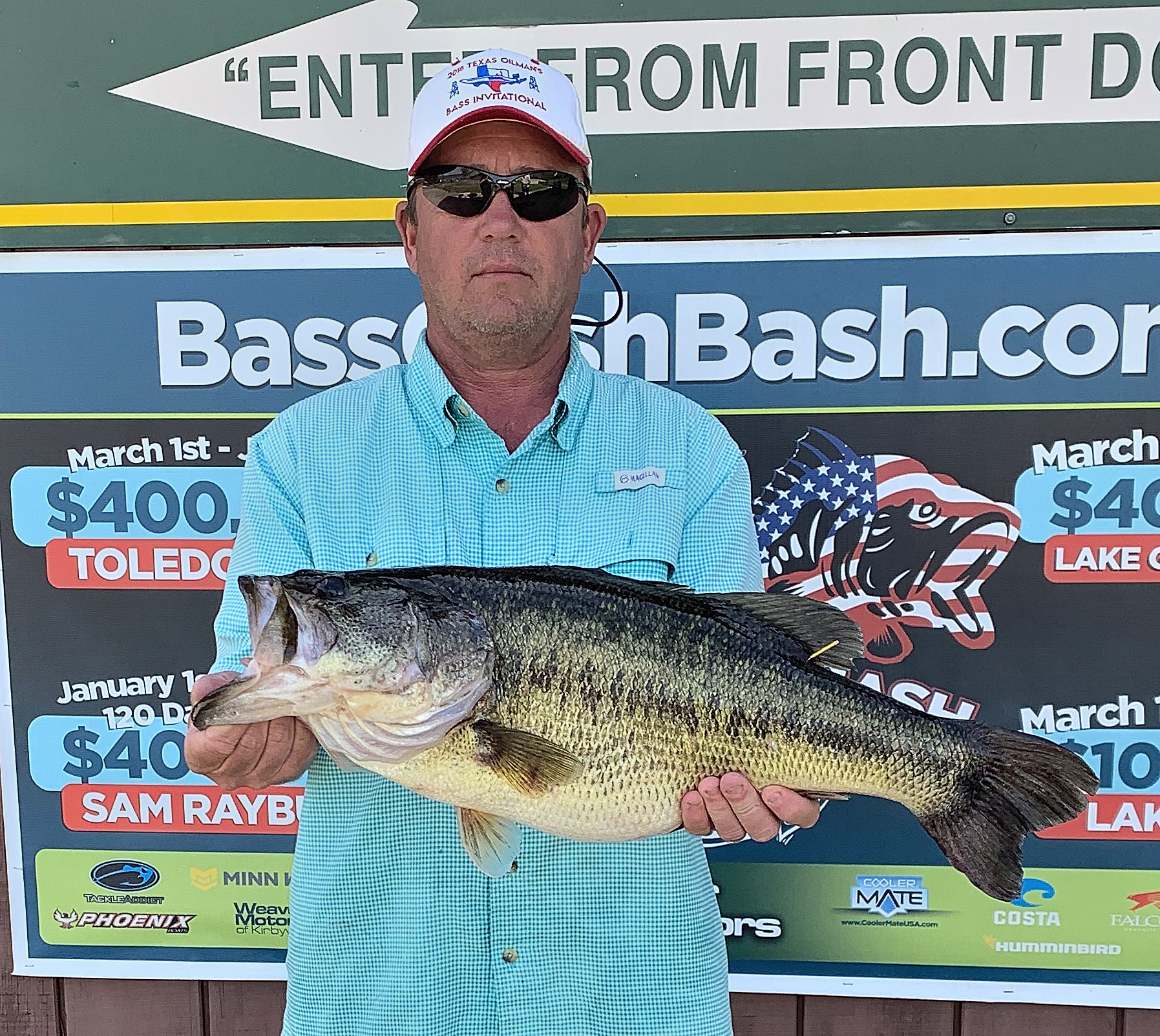 Ray Kovacs of St. Martinville was working a white Phenix chatterbait to take this huge bass weighing 10.50 pounds. (Photo courtesy of Toledo Bend Lake Association)