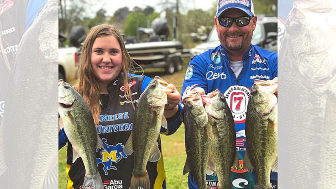 Annabelle Guins and her father, Doug, know very well how to take quality Toledo Bend largemouths during the shad spawn. (Photo courtesy Doug Guins)