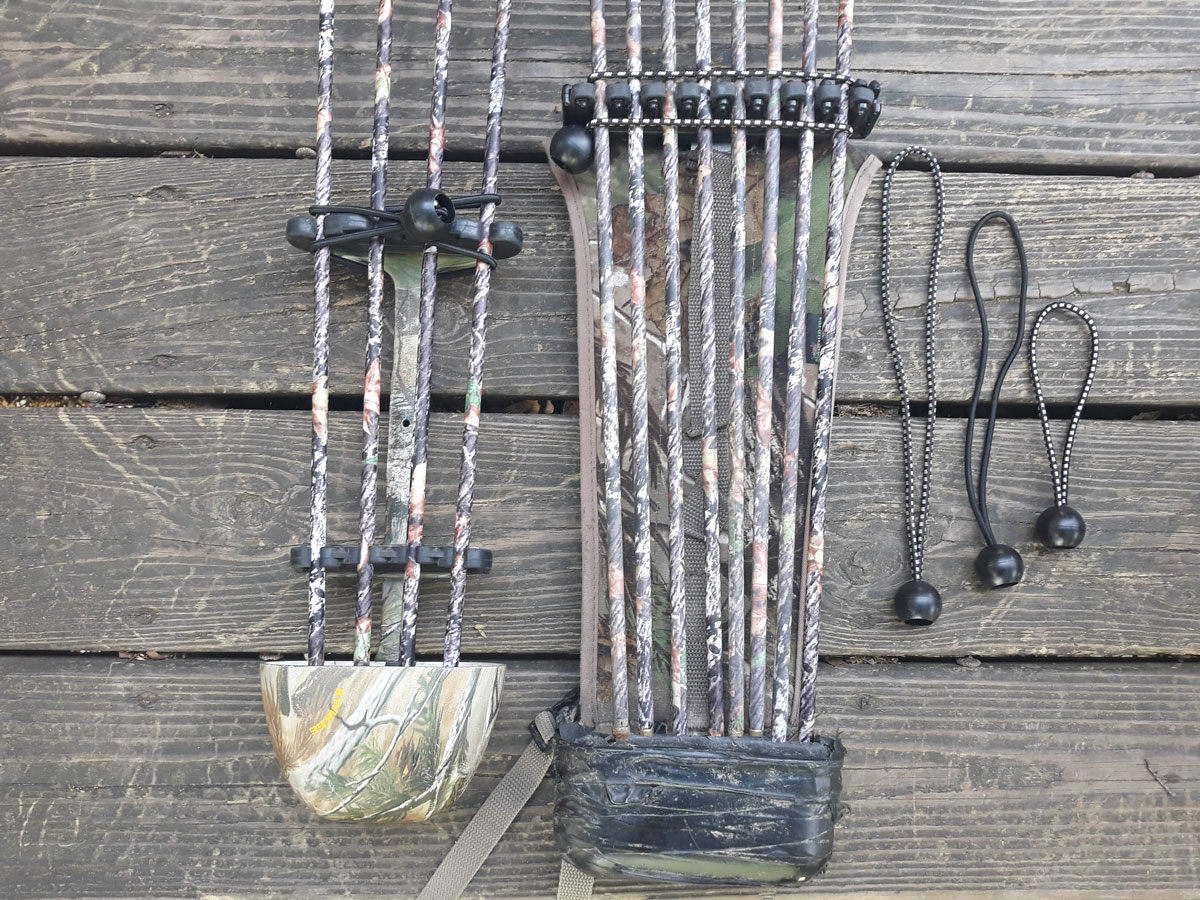 The author wraps bungee cords around his quiver to avoid losing arrows.