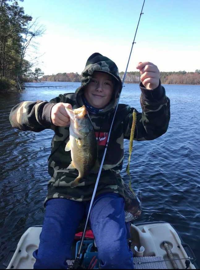Gabe Walsworth with a chunky, 2-pound Caney largemouth.