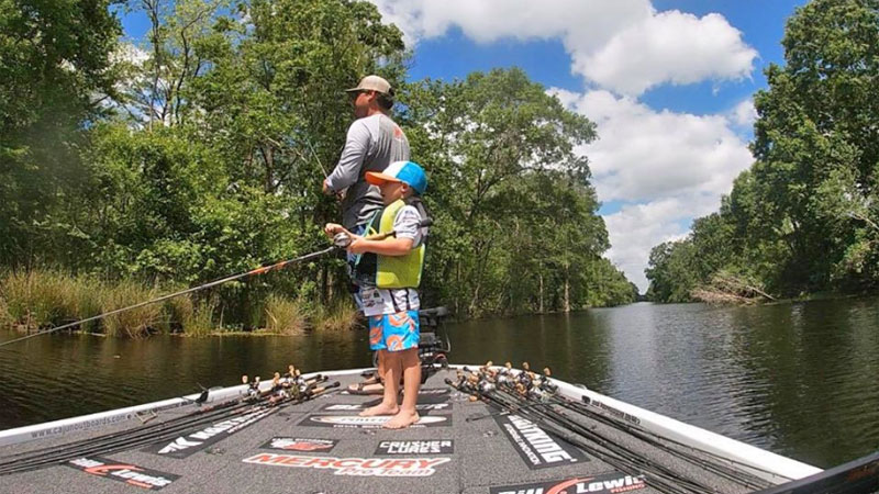 While not able to fish tournaments, Louisiana pro Cliff Crochet has been spending plenty of time on the water near home, including trips like this with his son, Ben.