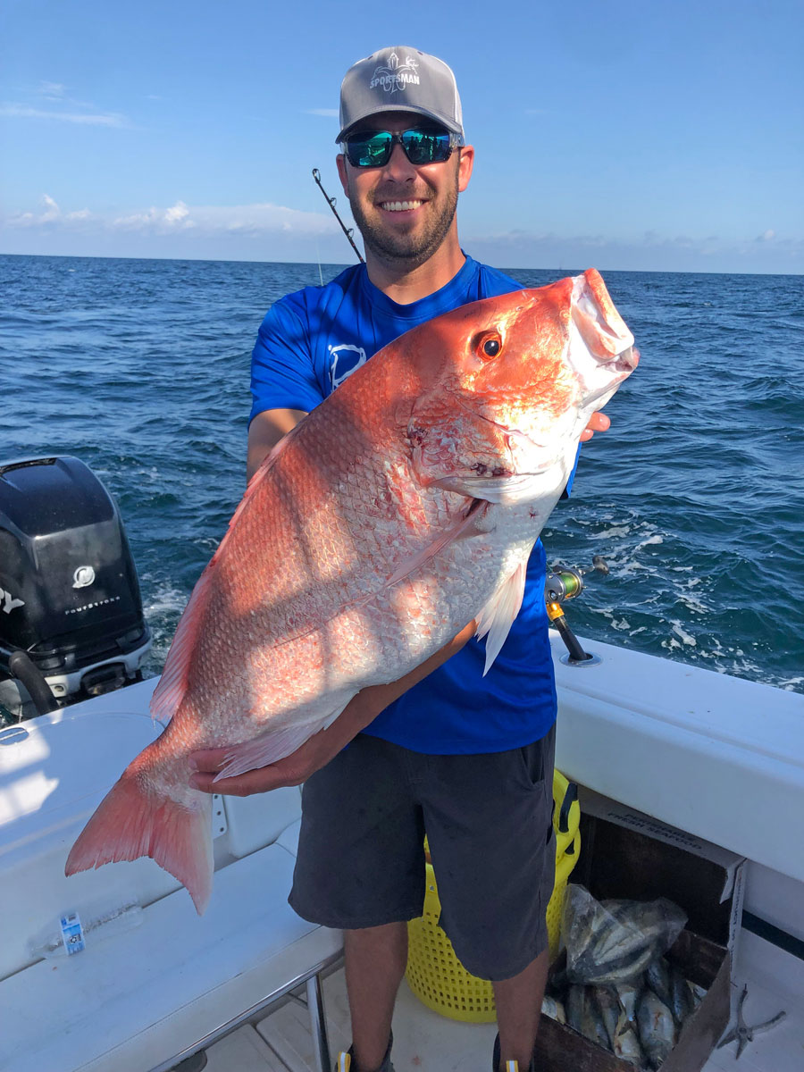 Bigger baits fished in deeper water will usually result in a bigger class of red snapper, according to angler Larry Doiron.