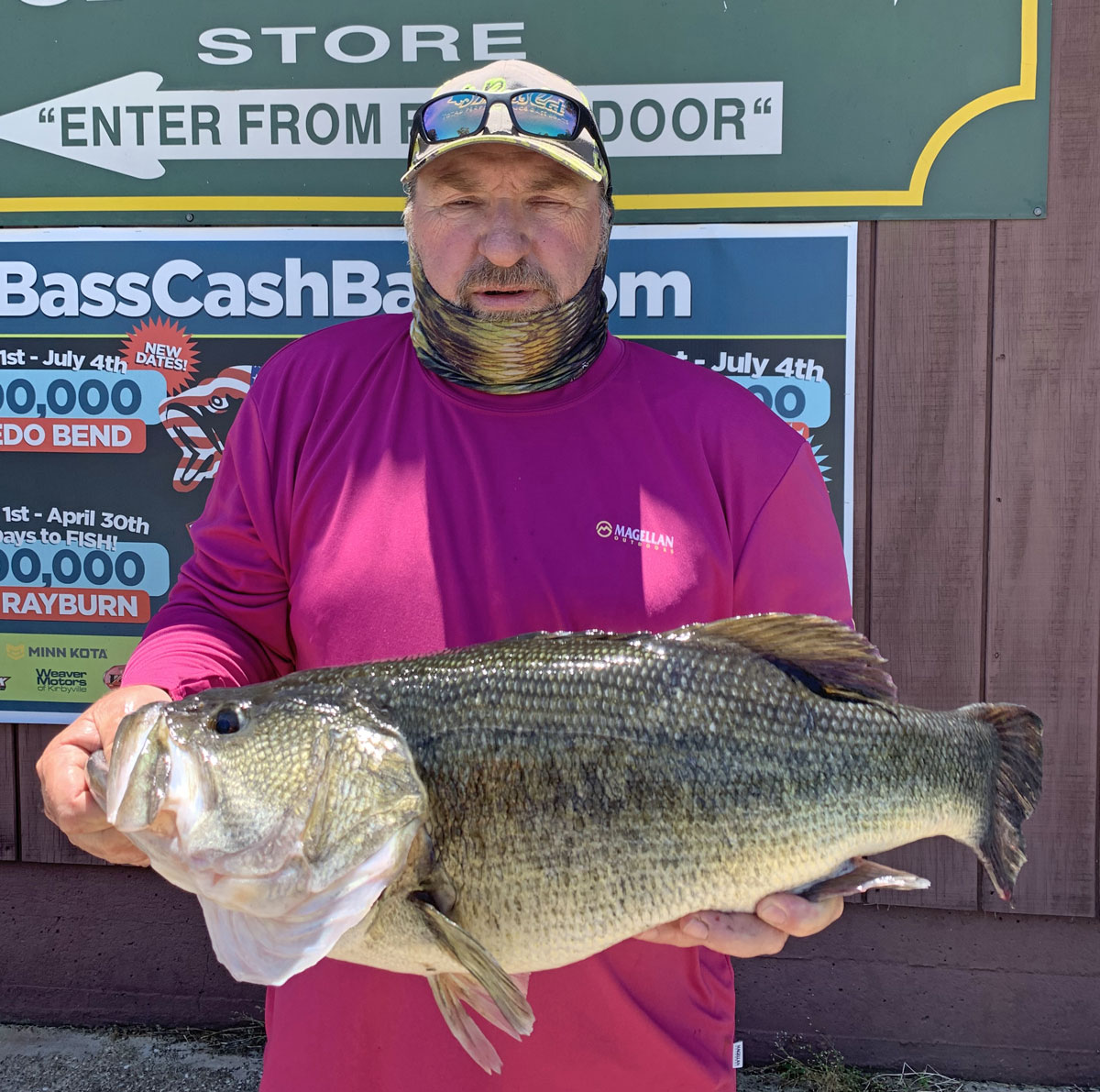 Henry West of Mermentau scored on this 10.80-pound Toledo Bend lunker fishing in Housen with a Carolina-rigged, Big Bite Rojas Fighting Frog. The fish was taken May 18, 2020, in 16 to 18 feet of water. (Photo courtesy of the Toledo Bend Lake Association)