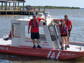 (Left to right) Capt. Frank Billiot, Deckhand Shea Savoy and Capt. Thomas Savoy of TowBoatUS Lake Charles.