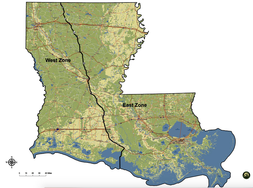 The preliminary lines for a possible East/West zone split for Louisiana in 2021-2025 are shown here.