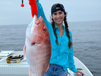 Kaitlin Kopsco with a red snapper caught out of Port Fourchon on July 4.