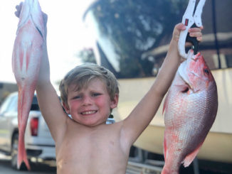 Four-year-old Kayson Felterman of Berwick with snapper caught at Eugene Island.