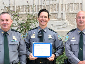 Corporal Joshua Laviolette (middle) with the 2020 NASBLA Boating Law Enforcement Officer of the Year award with Lt. David Nunez (left) and Capt. Stephen McManus.