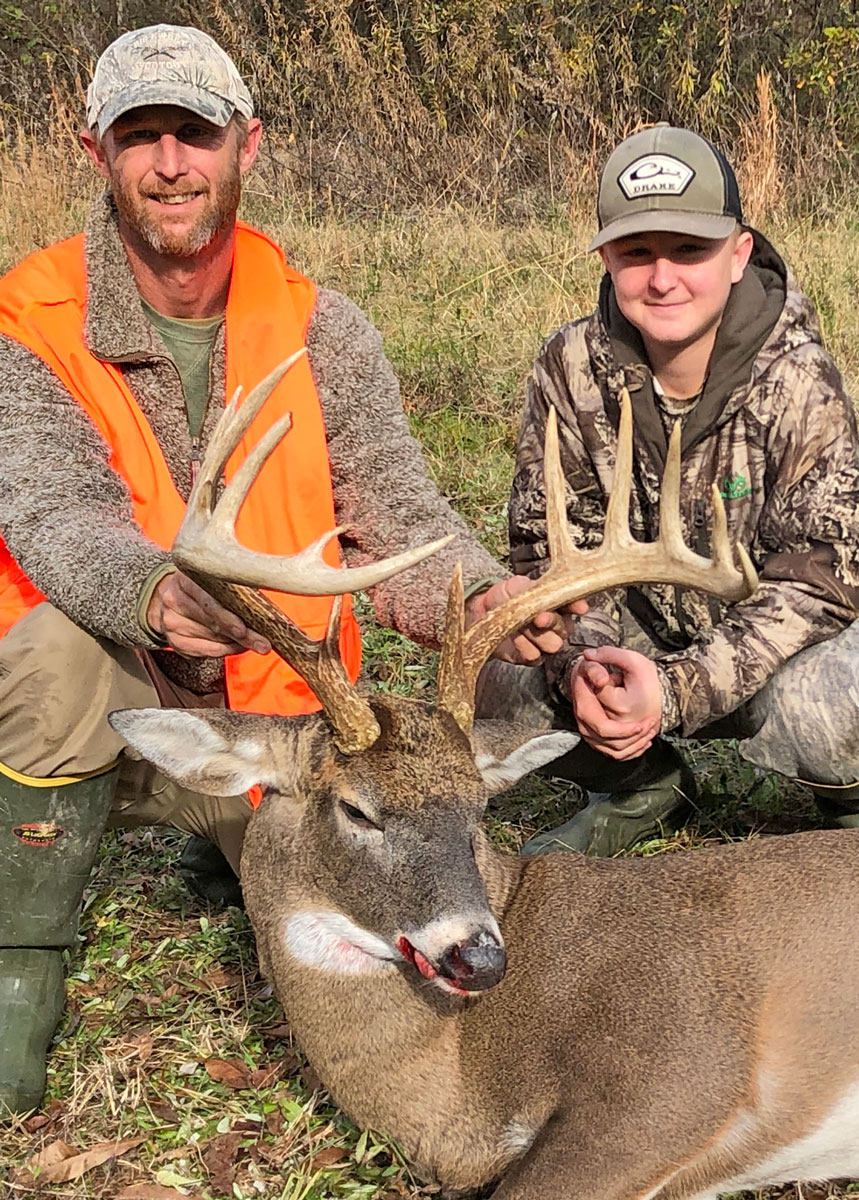 Lee Greer and his son Braxton with the 13-point Richland Parish buck Lee killed on Dec. 11.
