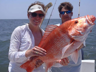 These two anglers are happy with this whopper snapper, caught of the Louisiana coast with Capt. Brett Ryan.