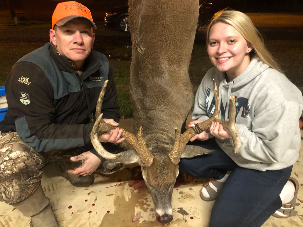 Hannah Odom and her dad, Josh, with the trophy buck.