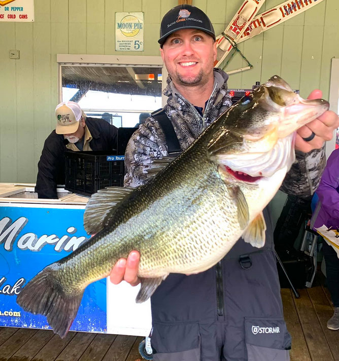 Matt Holloway smashed his personal best bass record with this 11.59-pound Caney Lake lunker.