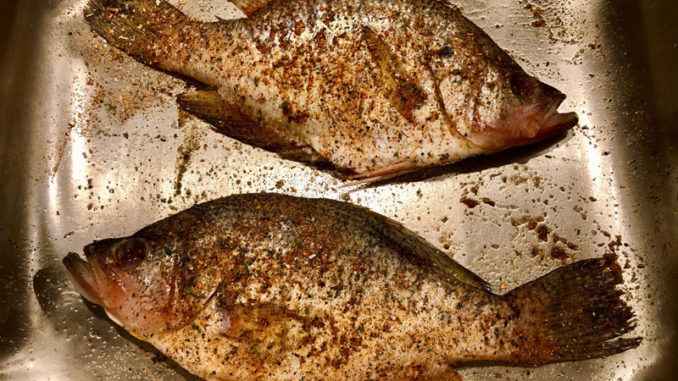 Two whole crappie, thoroughly cleaned and seasoned.