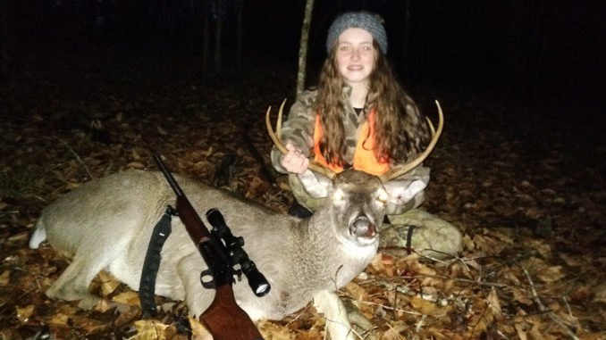 Anna Beth Garbo from Robert, La., took this December buck this past season. She is a crack shot and has been hunting and bagging deer since the age of six. Her preferred caliber and bullet combo are the the .243 Win. with a 100-grain PSP bullet.