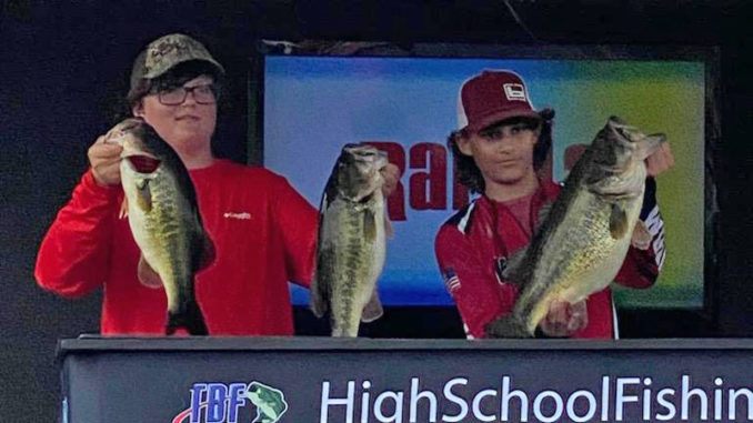 Landin Chatham (right) and Ben Ramsey joined forces to win the LHSAA Inaugural Regional high school bass tournament at Caney Lake on March 27.