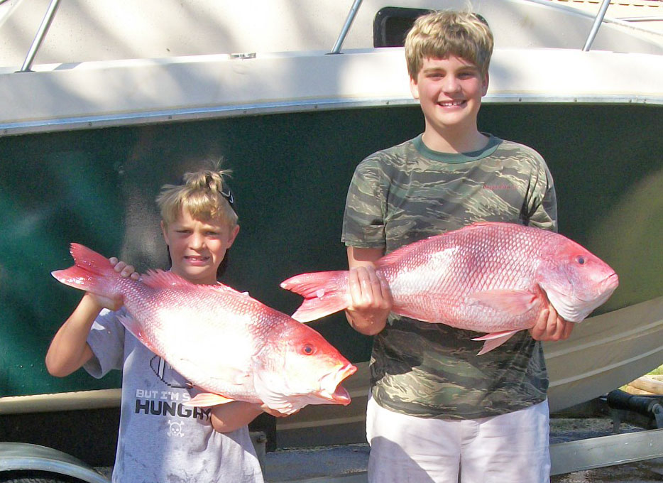 Forrest and Jacob Davis caught quick limits of snapper with their parents during a trip out of Venice.