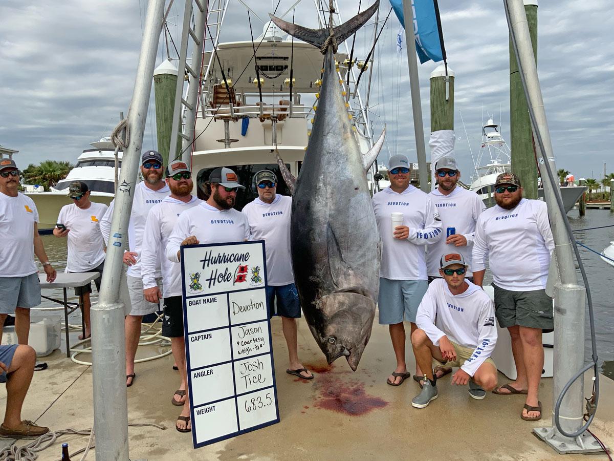 Josh Tice of Orange Beach, Ala., landed this 683.5-pound bluefin tuna during the Louisiana Gulf Coast Billfish Classic on May 2.