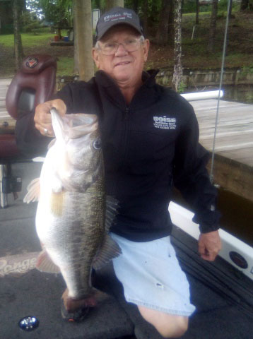 """On Saturday, May 1, Woodrow """"Boggie"""" Colton of Knight landed a 10.36-pound largemouth bass at Toledo Bend."""
