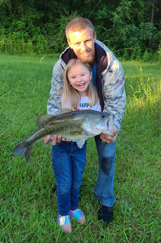 On June 6, the day after Ally Welch turned 7 years old, she hooked into this 6.8-pound bass in her grandparent's pond in Clinton.