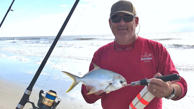 Florida pompano are a surf fisherman's dream fish: aggressive, hungry and a good test on light tackle. Just don't cast too far. (Photo by Brian Cope)