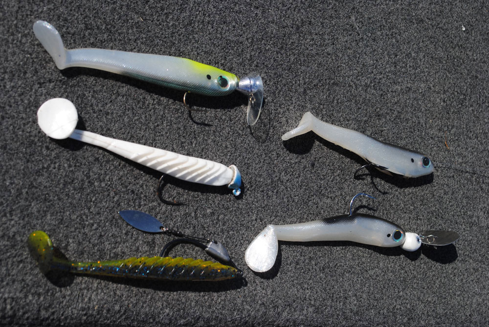 Swimbaits can be fished deep on five different rigs (clockwise from top left): Line-through bait, bladed jighead, underspin, normal jighead, Scrounger head.