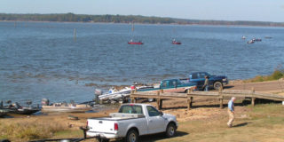 Lake D'Arbonne boat ramps are always busy when the fish are biting.