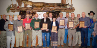 Inductees and special award winners at the 2021 Louisiana Chapter Legends of the Outdoors banquet held this weekend. Left to right: Kinny Haddox, Glynn Harris, Joe Macaluso, Bo Dowden, Warren Coco, Cory Gilbert, Scott Hall, Lisa Cuccia, Dale Bordelon, Peyton McKinnie, Leon Stilley, Johnny Wink, Warren Womack, Dan DeWitt and Ronda Johnson.